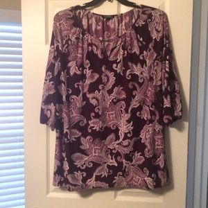 Roz and Ali pink and purple print blouse. 2x